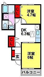 グランディール 1階2DKの間取り