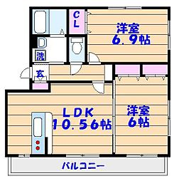千葉県市川市塩焼3丁目の賃貸アパートの間取り