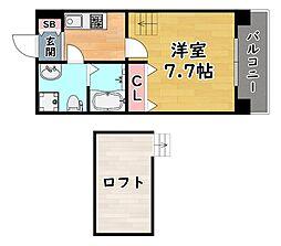 阪神本線 新在家駅 徒歩6分の賃貸マンション 7階1Kの間取り