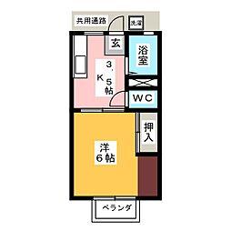パナハイツ室 A棟[1階]の間取り