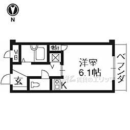 京阪本線 七条駅 徒歩4分の賃貸マンション 4階1Kの間取り