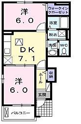 愛媛県伊予市稲荷の賃貸アパートの間取り
