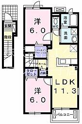 JR八高線 金子駅 徒歩23分の賃貸アパート 2階2LDKの間取り
