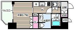 リーガル靭公園南II 6階1Kの間取り