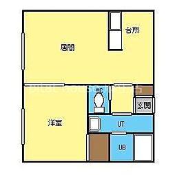 JR学園都市線 新琴似駅 3.5kmの賃貸アパート 2階1LDKの間取り