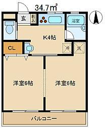 松本マンション1[102号室]の間取り