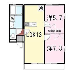 姫路市継アパート[102号室]の間取り