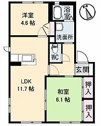 アメニティーハウス 2階2LDKの間取り