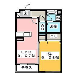 (仮)D-room湘南台B 1階1LDKの間取り