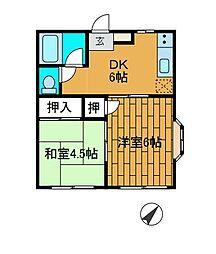 メゾネ鳳[1階]の間取り