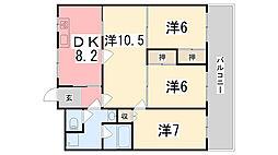 兵庫県姫路市城東町野田の賃貸マンションの間取り