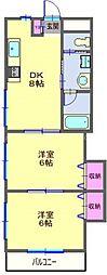 JR京浜東北・根岸線 大井町駅 徒歩8分の賃貸マンション 2階2DKの間取り