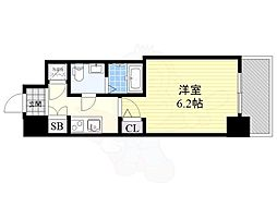 阪神本線 野田駅 徒歩4分の賃貸マンション 4階1Kの間取り