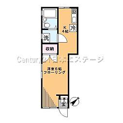 東京都品川区旗の台5丁目の賃貸アパートの間取り