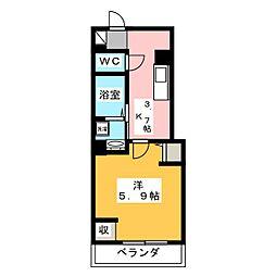 OKUEII 1階1Kの間取り