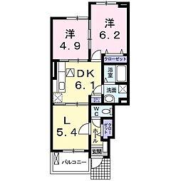 南海線 樽井駅 徒歩19分の賃貸アパート 1階2LDKの間取り