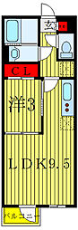 JR埼京線 北赤羽駅 徒歩4分の賃貸マンション 2階1LDKの間取り