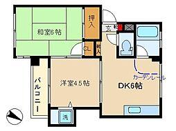 東京都大田区中央3丁目の賃貸マンションの間取り