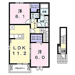 茨城県日立市相田町2丁目の賃貸アパートの間取り