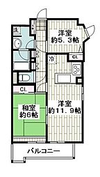 横浜市営地下鉄ブルーライン 上永谷駅 徒歩22分の賃貸マンション 6階2LDKの間取り