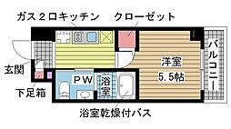 エスリード神戸WEST[6階]の間取り