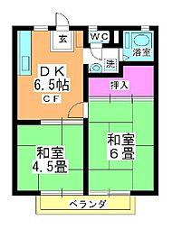 サンハイツニシハラ A・B[B101号室]の間取り