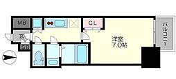 ファーストステージ江戸堀パークサイド 5階1Kの間取り
