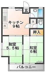 ボヌール二番館 2階2DKの間取り