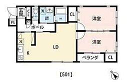 JR京葉線 越中島駅 徒歩19分の賃貸マンション 5階2LDKの間取り