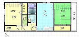 京都府京都市東山区常盤町の賃貸マンションの間取り