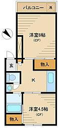 JR埼京線 板橋駅 徒歩14分の賃貸マンション 2階2Kの間取り
