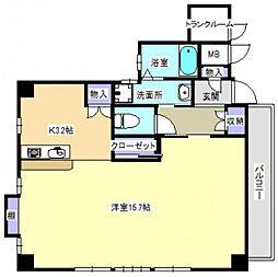 JR山陽本線 広島駅 徒歩19分の賃貸マンション 4階ワンルームの間取り