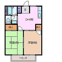ボナールハウス B棟[2階]の間取り