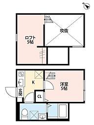 JR横浜線 淵野辺駅 徒歩13分の賃貸アパート 1階1Kの間取り