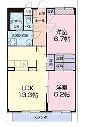愛知県西尾市富山町銭成畑の賃貸アパートの間取り