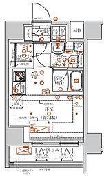クラリッサ川崎グランデ 9階ワンルームの間取り