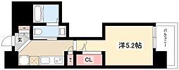エステムコート名古屋泉プラチナムゲート 12階1Kの間取り