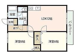 ベストハウス三入[2階]の間取り