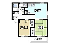 奈良県奈良市西九条町3丁目の賃貸マンションの間取り