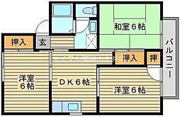 岡山県岡山市中区浜の賃貸アパートの間取り
