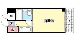 キューブ芦屋[213号室]の間取り
