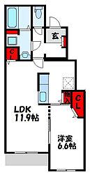 JR鹿児島本線 赤間駅 3.5kmの賃貸アパート 1階1LDKの間取り