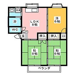 パルメゾンA[2階]の間取り