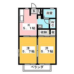 ロワイムヨネシン6[2階]の間取り