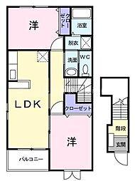 岡山県倉敷市児島通生の賃貸アパートの間取り