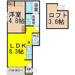 テラス菊井 1階1LDKの間取り