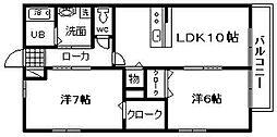 JR阪和線 下松駅 徒歩15分の賃貸アパート 1階2LDKの間取り