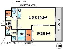 サンサーラ日光 2階1LDKの間取り