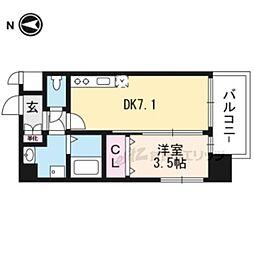 JR東海道・山陽本線 岸辺駅 徒歩4分の賃貸マンション 6階1DKの間取り