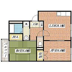 ホームタウン茨木A棟[2階]の間取り